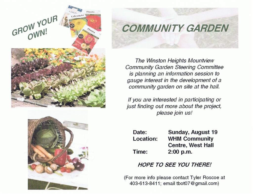 Community Garden Information Meetup Winston Heights